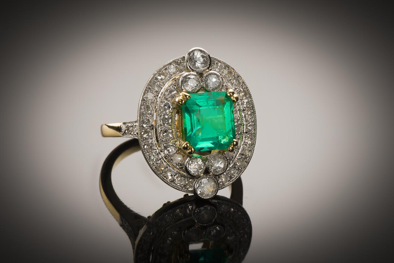 Bague Art Déco émeraude diamants-1
