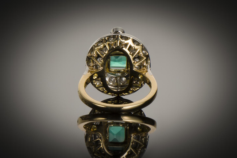 Bague Art Déco émeraude diamants-2