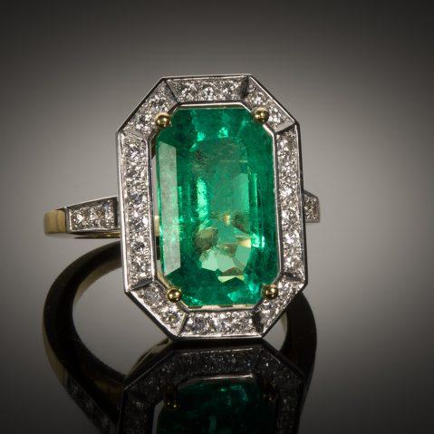 Bague émeraude (8,47 carats Colombie vert intense – Certificat CGL) diamants