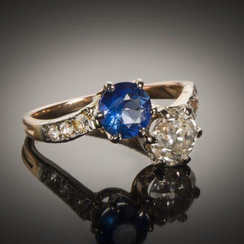 Bague « vous & moi » diamants saphir fin XIXe siècle