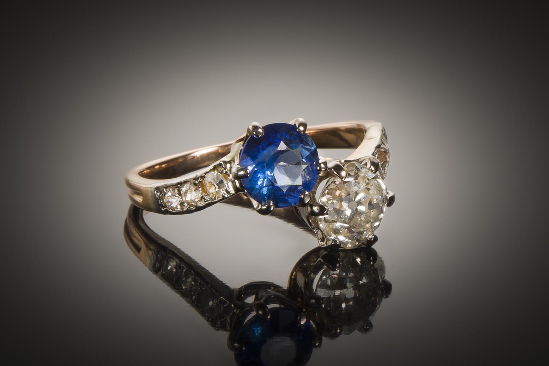 Bague « vous & moi » diamants saphir fin XIXe siècle-1
