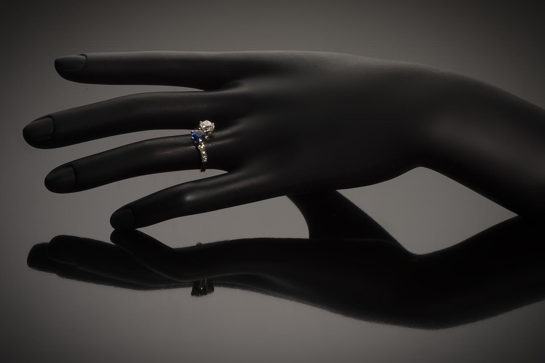 Bague « vous & moi » diamants saphir fin XIXe siècle-2