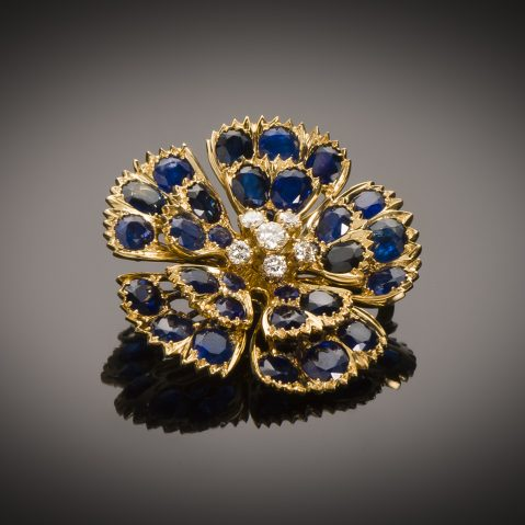 Broche saphirs (5 carats) diamants vers 1950