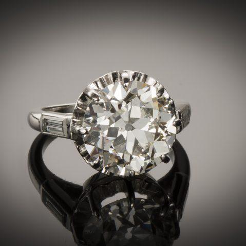 Solitaire diamant 5,37 carats (certificat LFG) Art Déco