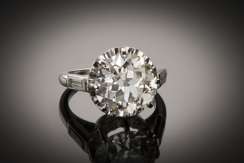 Solitaire diamant 5,37 carats (certificat LFG) Art Déco-1