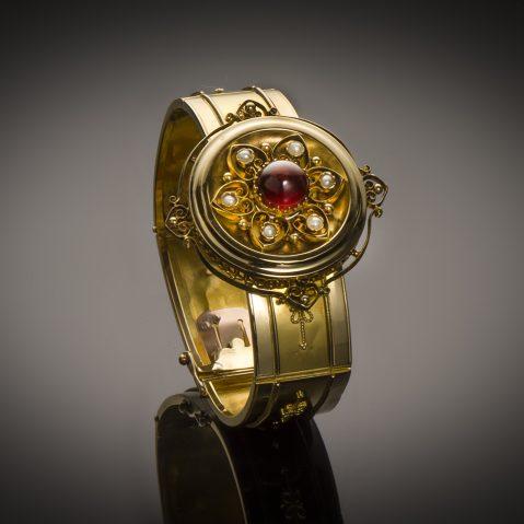 Bracelet grenat perles fines Napoléon III