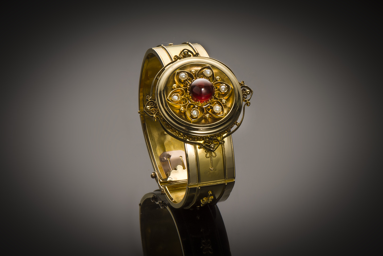 Bracelet grenat perles fines Napoléon III-1