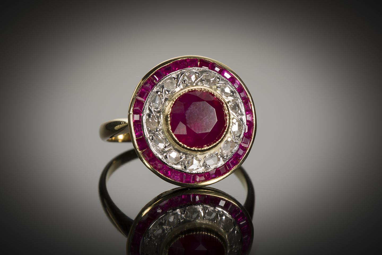 Bague vers 1920 rubis birman (certificat CGL) diamants-1
