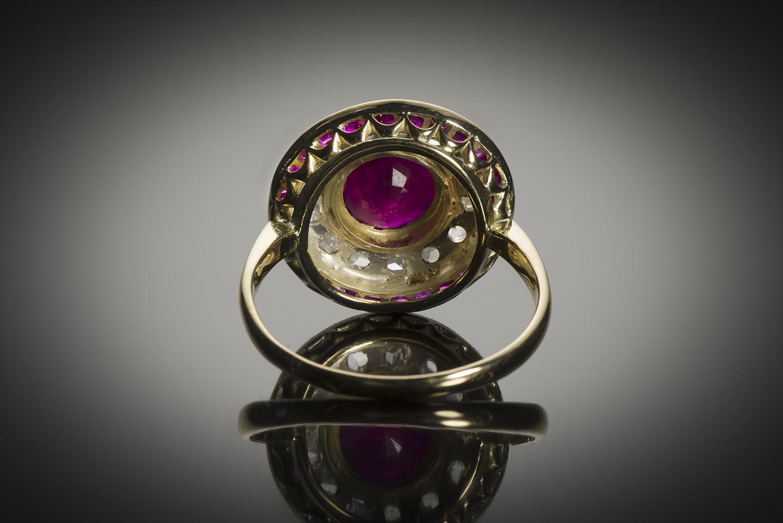 Bague vers 1920 rubis birman (certificat CGL) diamants-2