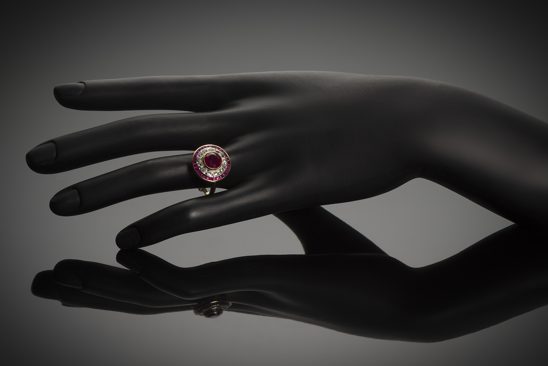 Bague vers 1920 rubis birman (certificat CGL) diamants-3