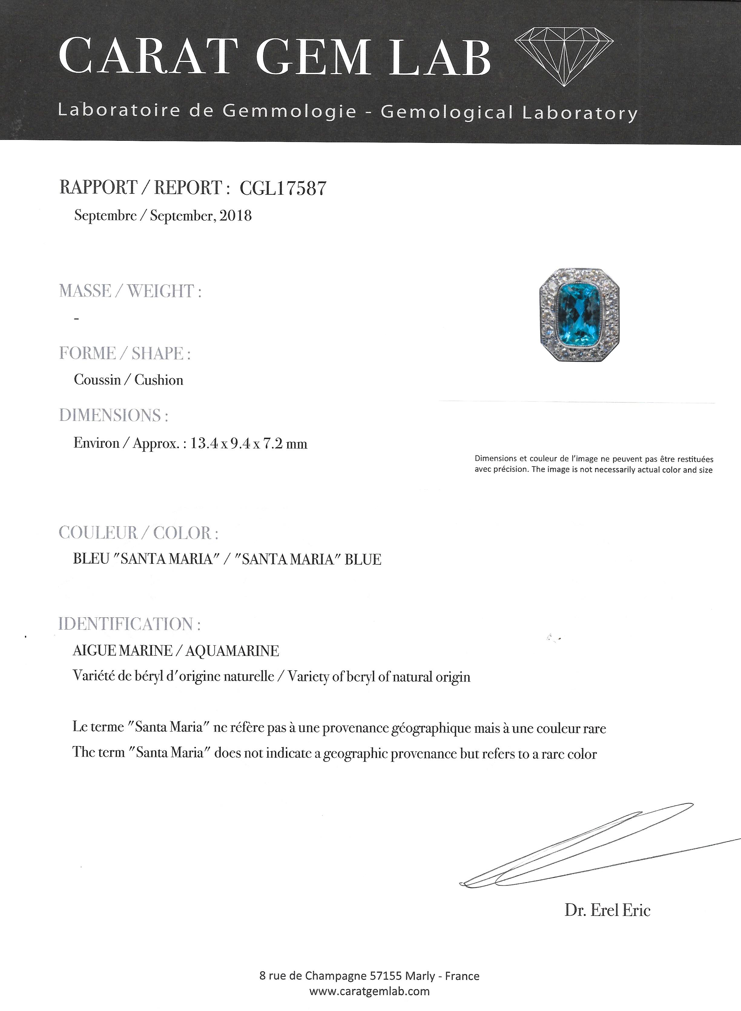 Bague aigue-marine Santa Maria (6 carats, certificat CGL) diamants-3