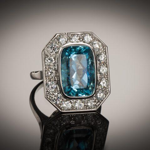 Bague aigue-marine Santa Maria (6 carats, certificat CGL) diamants