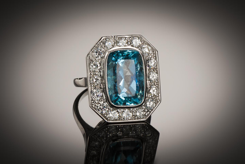 Bague aigue-marine Santa Maria (6 carats, certificat CGL) diamants-1