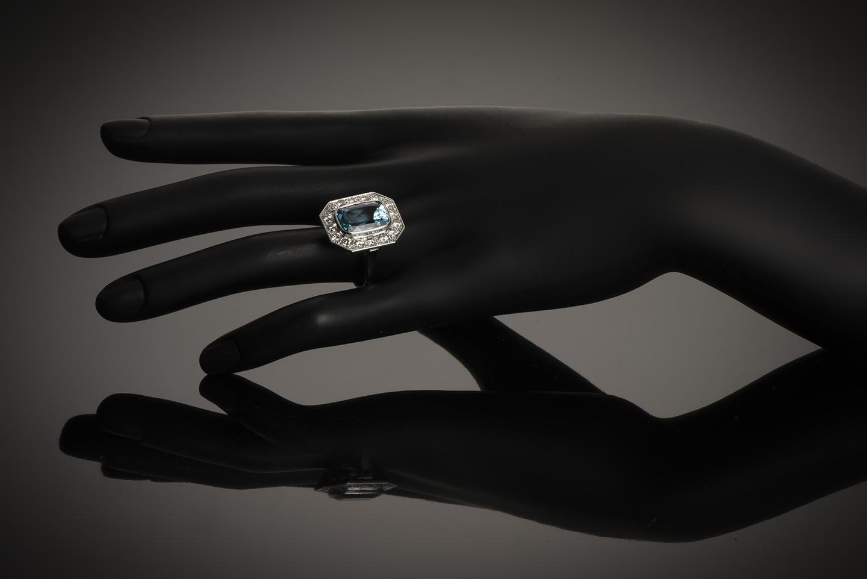 Bague aigue-marine Santa Maria (6 carats, certificat CGL) diamants-2