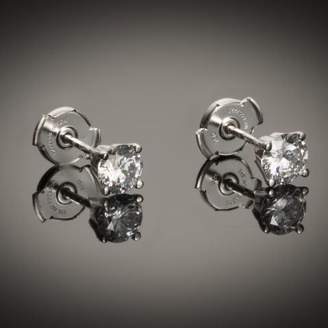 Boucles d'oreilles diamants (1,02 carat E VVS1)