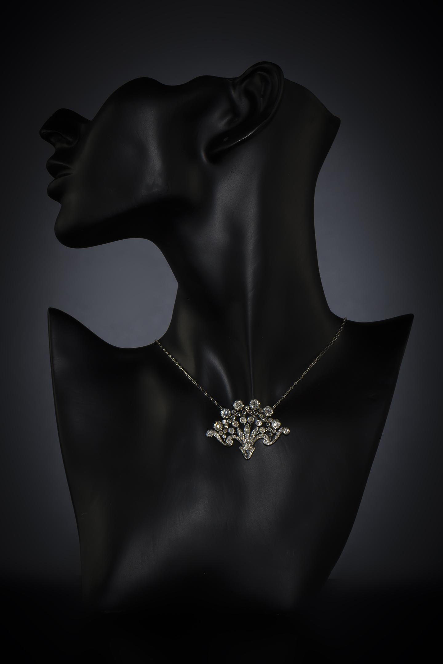 Pendentif broche Belle Epoque diamants (environ 2 carats)-2