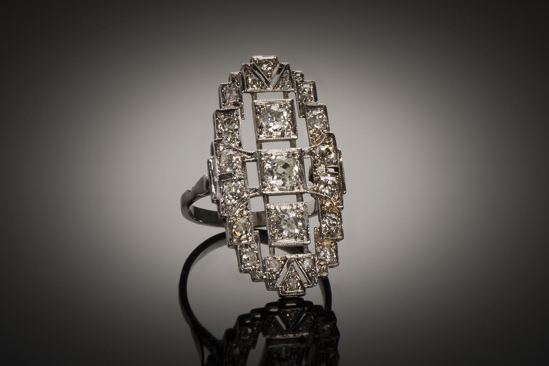 Bague diamants Art Déco (1,2 carat)-1
