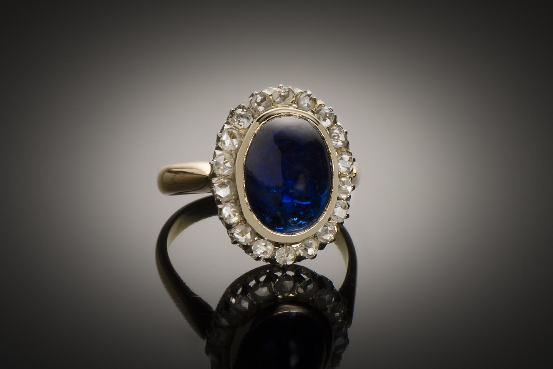 Bague saphir cabochon (8,50 carats) diamants début XXe siècle-1