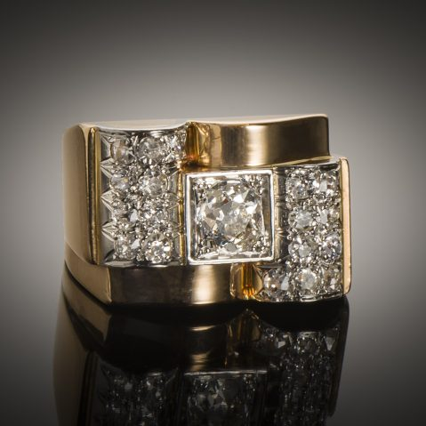 Bague Tank vers 1940 diamants (1,50 carat)
