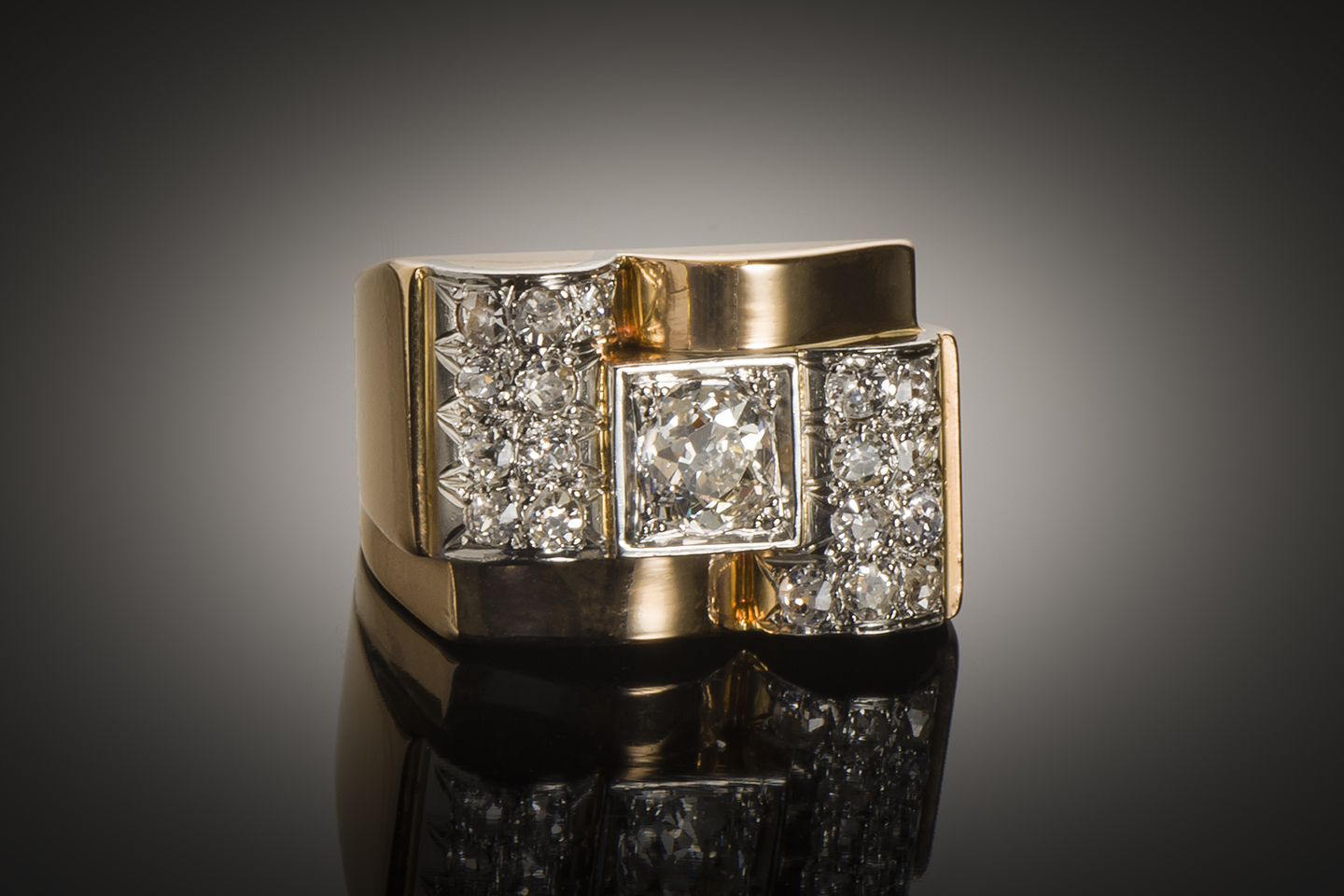 Bague Tank vers 1940 diamants (1,50 carat)-1