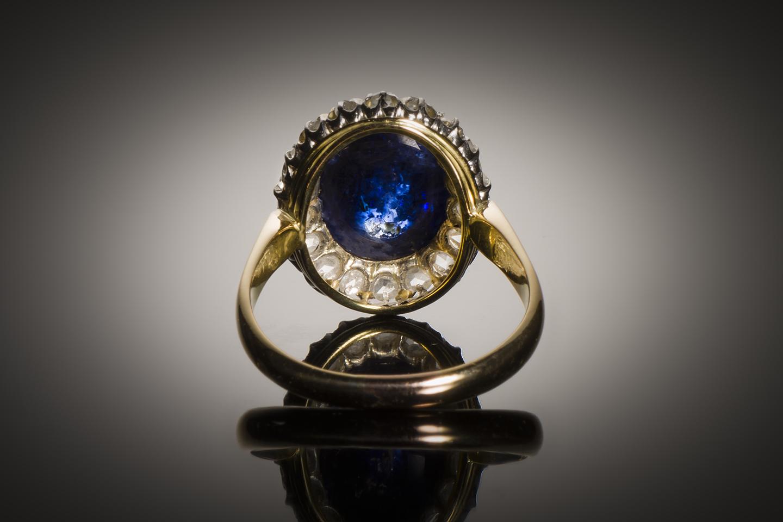 Bague saphir cabochon (8,50 carats) diamants début XXe siècle-2