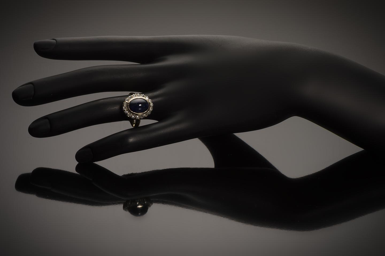 Bague saphir cabochon (8,50 carats) diamants début XXe siècle-3
