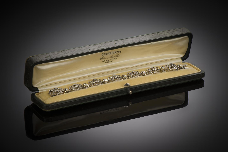 Bracelet fin XIXe siècle diamants et perles-1