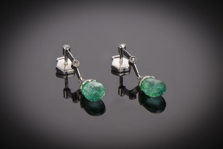 Boucles d'oreilles émeraudes (6 carats) diamants Art Déco-1