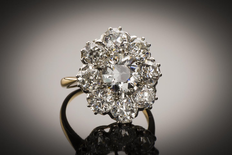 Bague fin XIXe siècle diamants (3,60 carats)-1