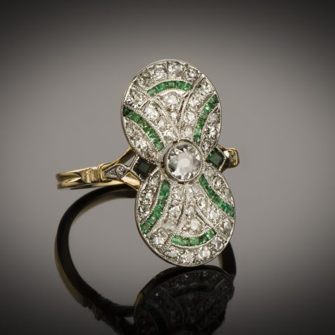 Bague diamants émeraudes vers 1920