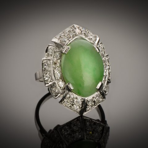 Bague Art Déco jade diamants