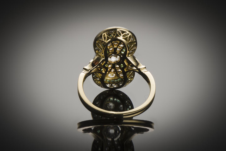 Bague diamants émeraudes vers 1920-2
