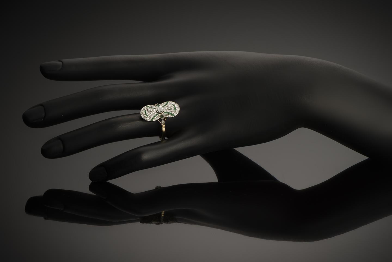 Bague diamants émeraudes vers 1920-3