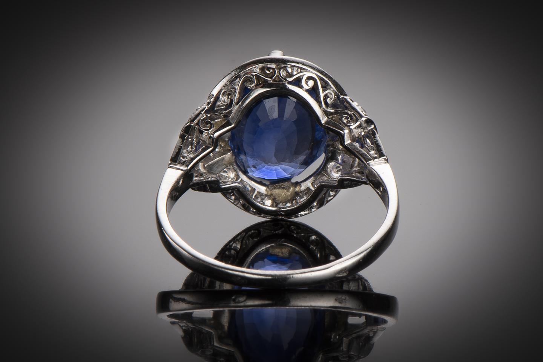 Bague saphir (5,38 carats) diamants Art Déco-2