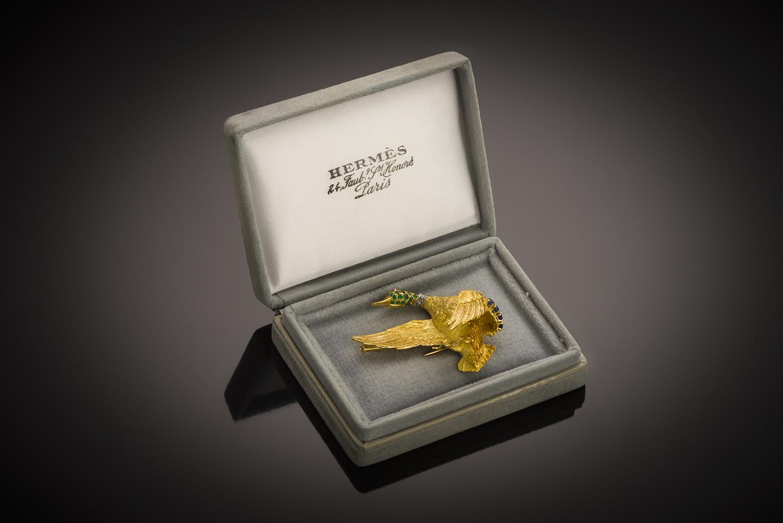 Broche Hermès vintage émeraudes saphirs diamants vers 1950 – 1960-1
