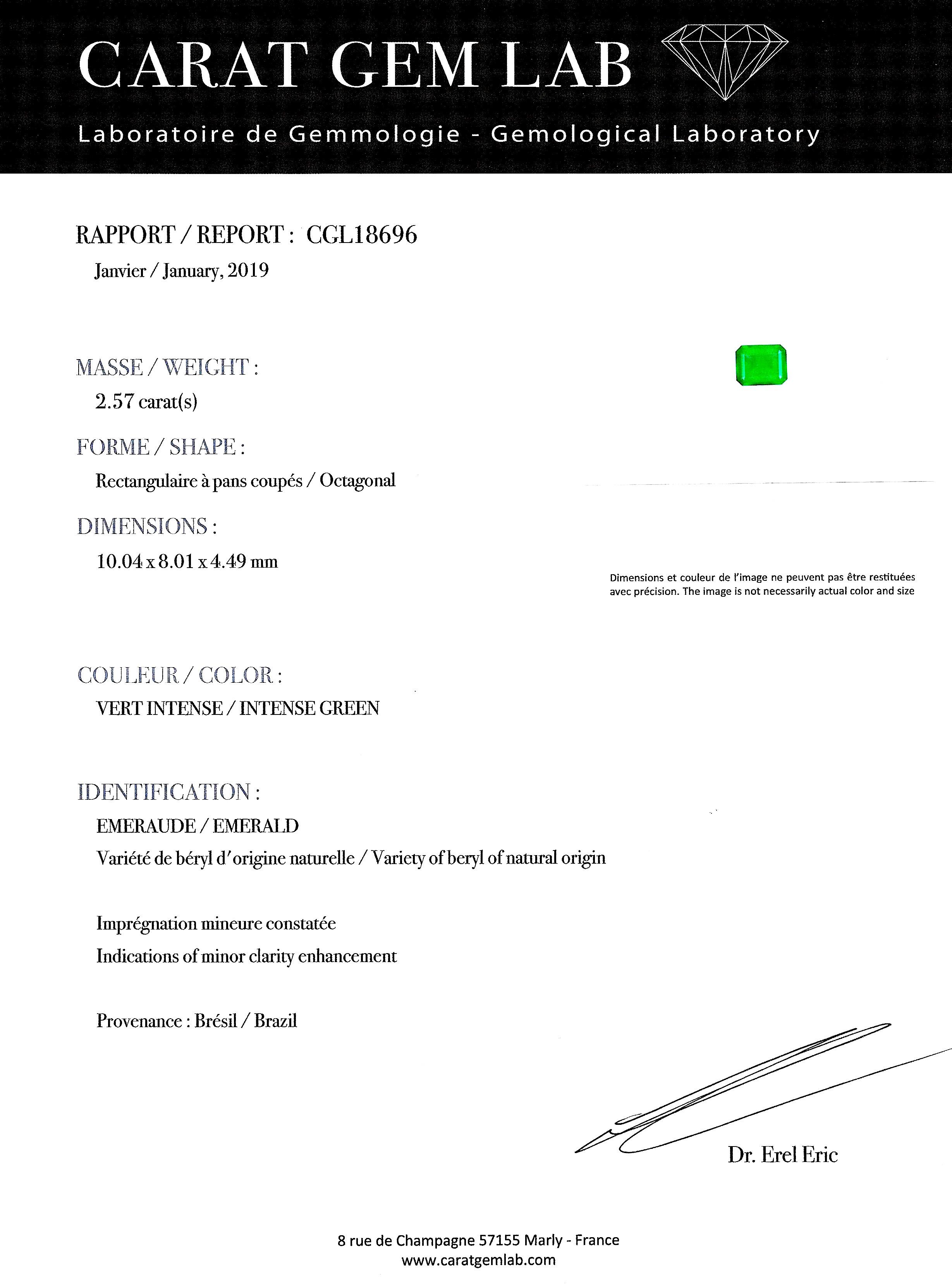 Bague émeraude vert intense (2,57 carats – Certificat CGL) diamants-3