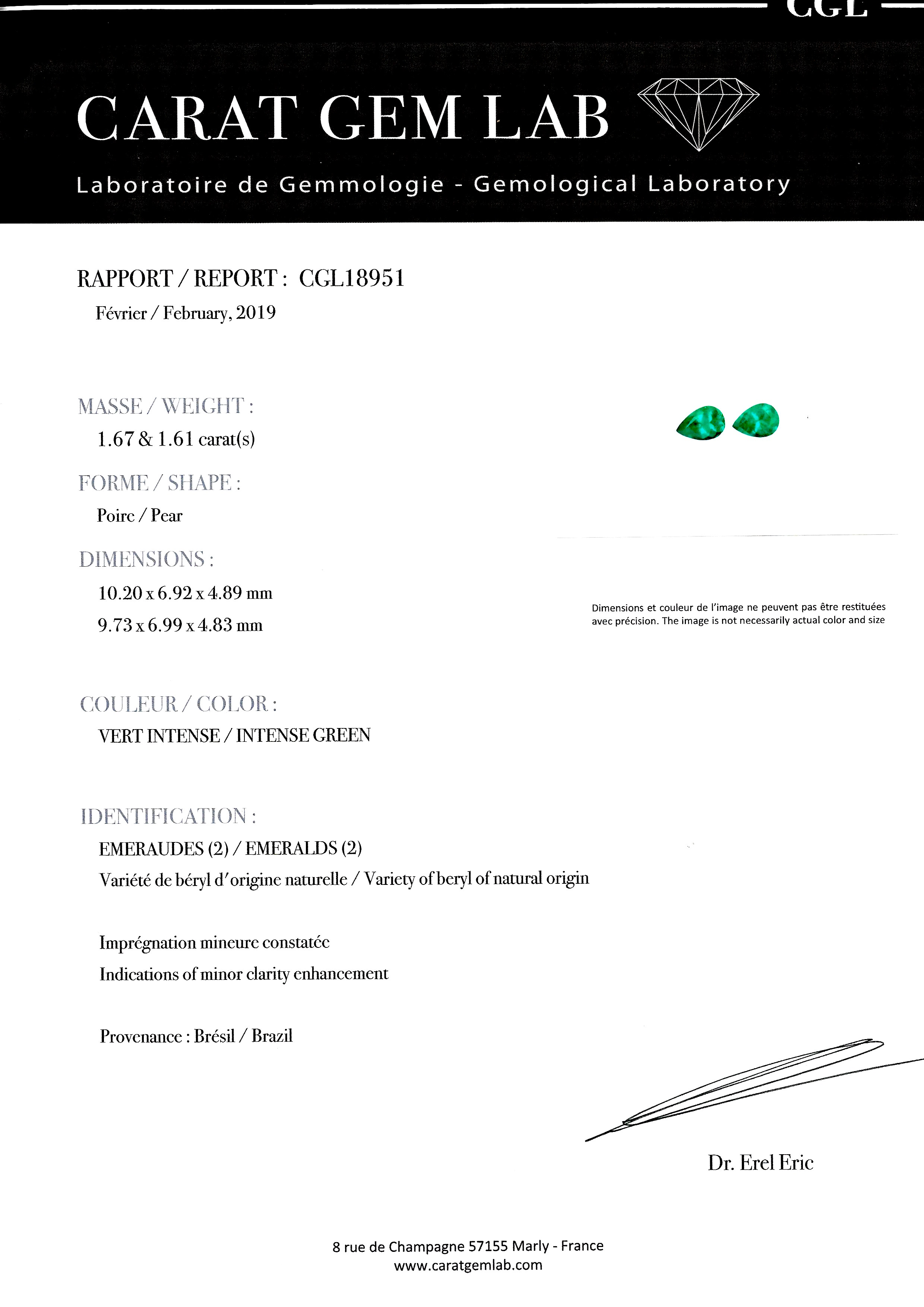 Boucles d'oreilles émeraudes vert intense 3,28 carats (certificat CGL) diamants-2