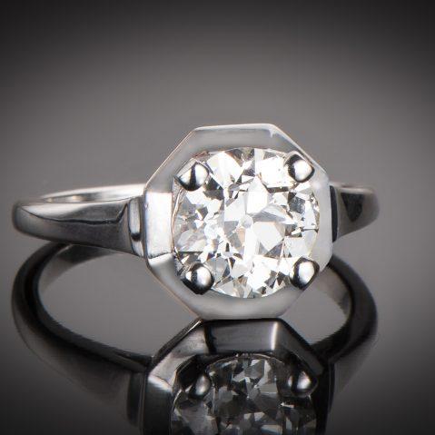 Solitaire diamant 2,06 carats (certificat LFG) Art Déco