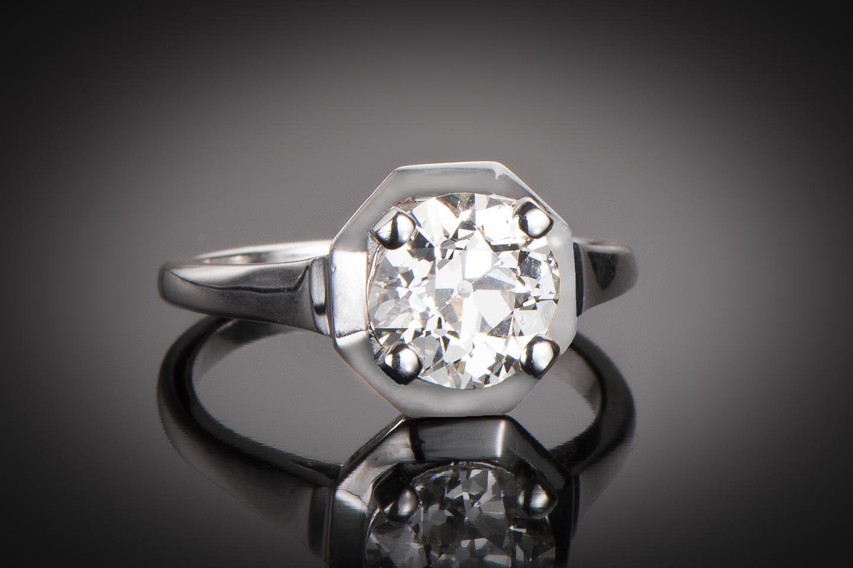 Solitaire diamant 2,06 carats (certificat LFG) Art Déco-1