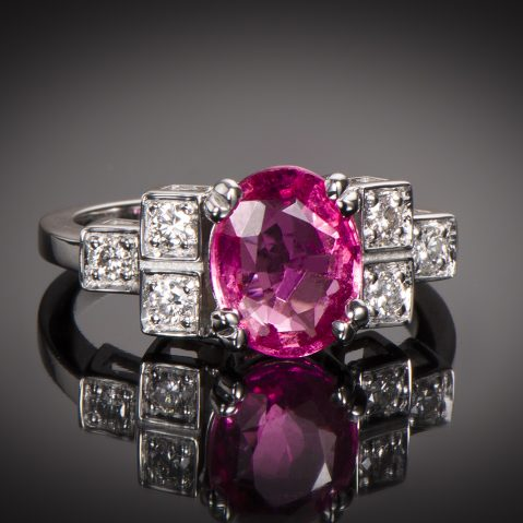 Bague saphir rose naturel (certificat LFG) diamants