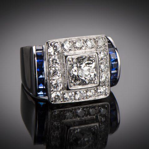Bague Art Déco diamants (1,80 carat) saphirs calibrés