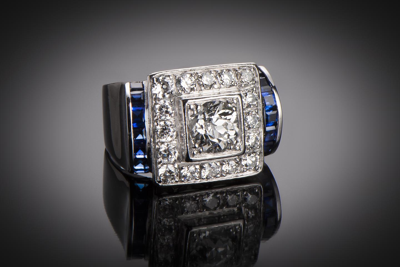 Bague Art Déco diamants (1,80 carat) saphirs calibrés-1