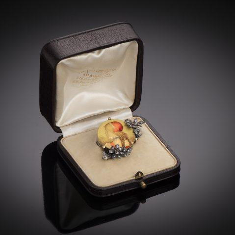 Broche émaillée Théodule Bourdier 1893 diamants