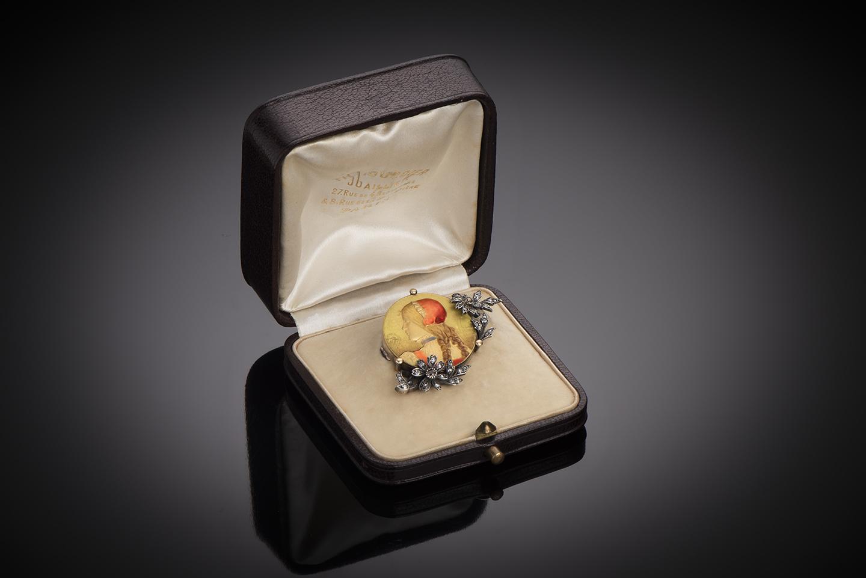Broche émaillée Théodule Bourdier 1893 diamants-1