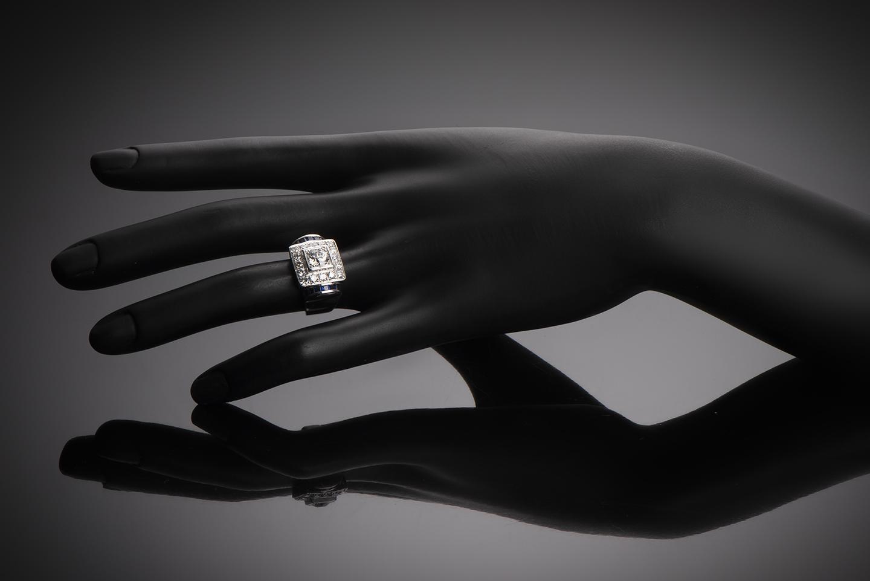 Bague Art Déco diamants (1,80 carat) saphirs calibrés-2