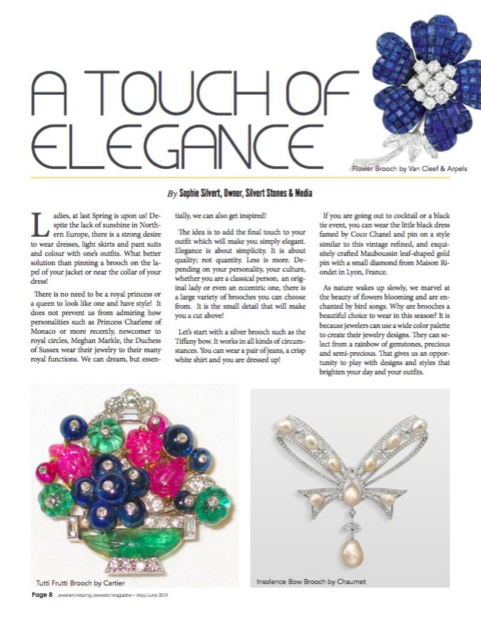 """Retrouvez-nous dans le magazine américain JHJ de mai/juin avec l'article de Sophia Silvert """"A touch of elegance"""""""