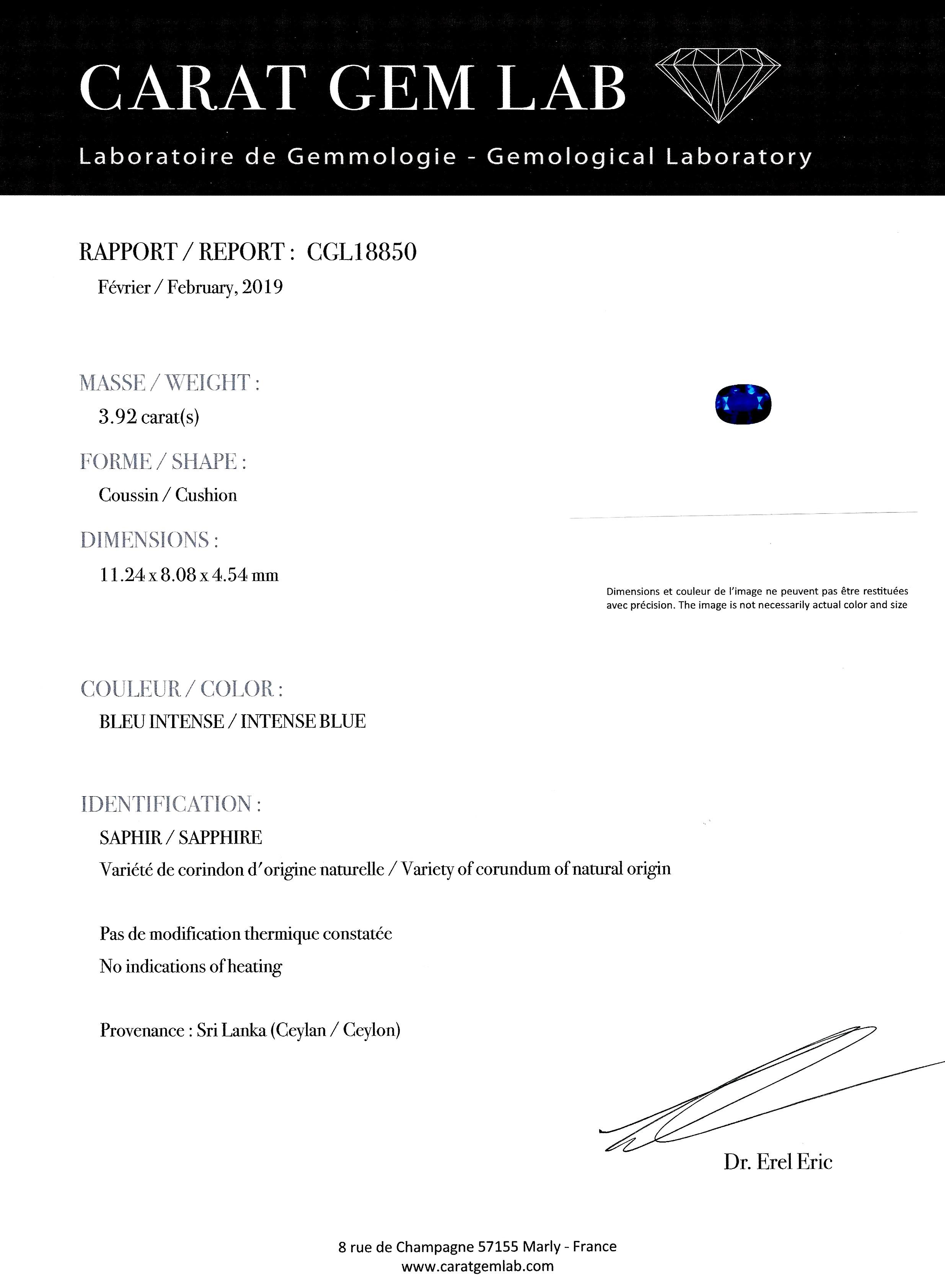 Bague Art Déco saphir naturel bleu intense (3,92 carats, certificat CGL) diamants-4