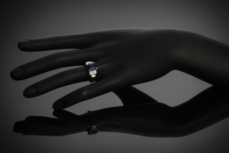 Bague saphir birman naturel coussin (Certificat Gem Paris) diamants-2