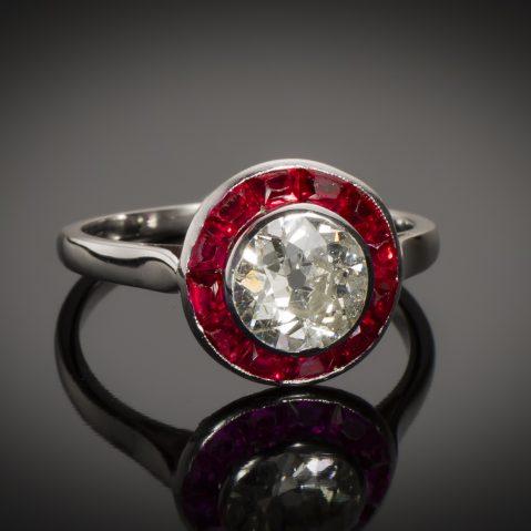 Bague Art Déco diamant (1,60 carat) rubis calibrés