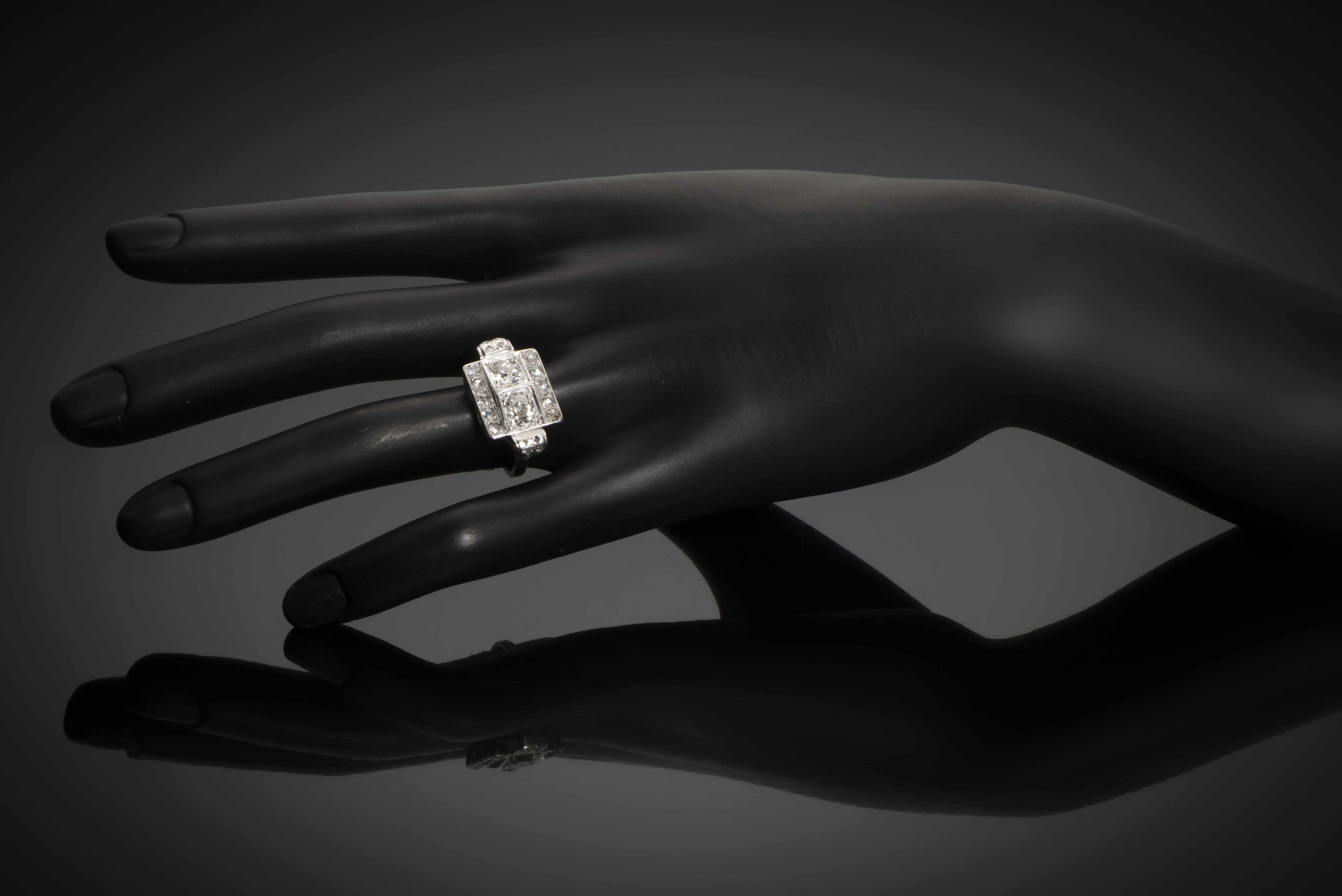 Bague Art Déco diamants (1,80 carat)-2